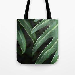 Tropical Leaves on Black Tote Bag