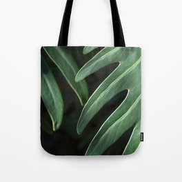 Tropical Leaves on Black Tote Bag