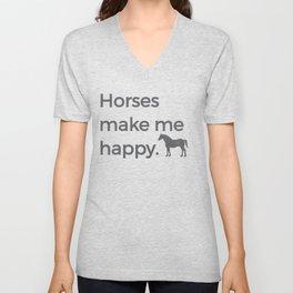 Horses Make Me Happy Riding Horsemanship Riding Horse Black Unisex V-Neck