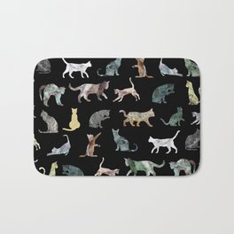 Cats shaped Marble - Black Bath Mat