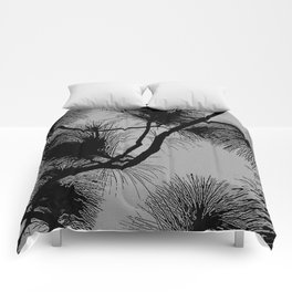 Gray and black, desert flora, floral pattern Comforters