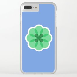 Purple and green geometric flower Clear iPhone Case