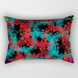 Multicolored delicate pastel red circles and blue ellipses depicting abstract ornamental green flowe Rectangular Pillow