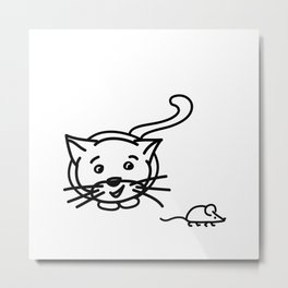 Funny Little Cat And Mouse Metal Print