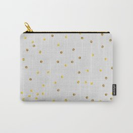 Gold Confetti on Pastel Grey Carry-All Pouch