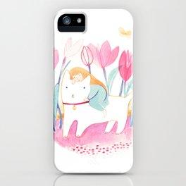 Riding through a tulip garden iPhone Case