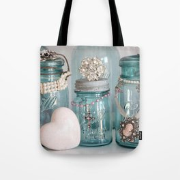 Vintage Mason Jars Shabby Chic Cottage Jeweled Decor Tote Bag