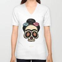 frida V-neck T-shirts featuring Frida by mangulica