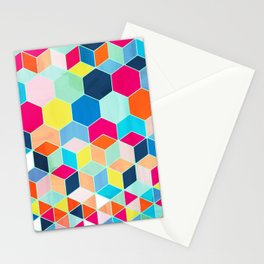 Super Bright Color Fun Hexagon Pattern Stationery Cards