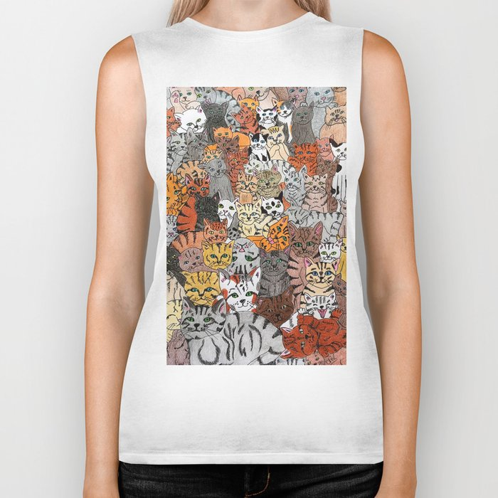 Cats, cats and more cats Biker Tank