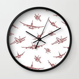 Red Airplanes Wall Clock