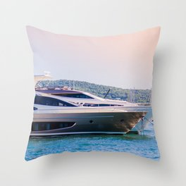 Travel Art Print - Nautical Photography - Sailing on the Ocean - Luxury Yacht in France Europe Throw Pillow