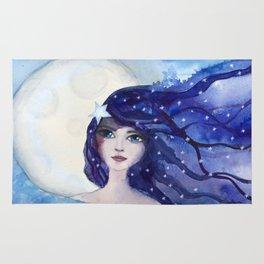 Watercolor Girl Moon and Stars Rug