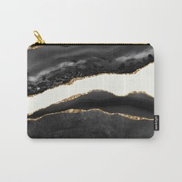 Into the Great Wide Open Black and Gold Agate Carry-All Pouch