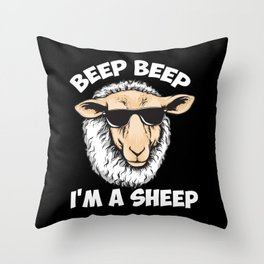 Beep Beep I'm A Sheep Throw Pillow