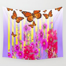 MONARCH BUTTERFLIES  PINK & LILAC GARDEN ABSTRACT Wall Tapestry