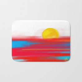 Sketchy Sun and Sea. Sunset and Sunrise Sketch Bath Mat