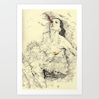 swim Art Prints featuring SWIM by withapencilinhand