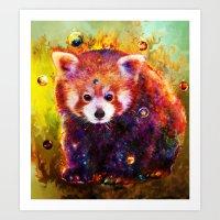 red panda Art Prints featuring red panda by ururuty