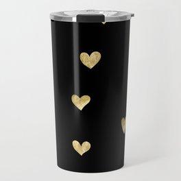 Gold Love Sign on Black Background Travel Mug