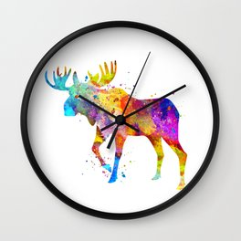 Watercolor Moose Wall Clock
