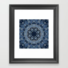 Geometric Blue Mandala Framed Art Print