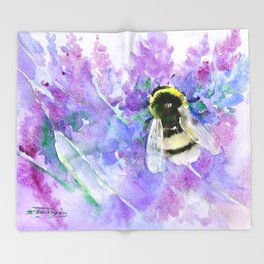 Bumblebee and Lavender Flowers Herbal Bee Honey Purple Floral design Throw Blanket