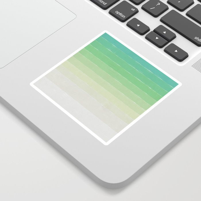 Shades of Ocean Water - Abstract Geometric Line Gradient Pattern between See Green and White Sticker
