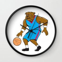 Bulldog Basketball Player Dribble Cartoon Wall Clock