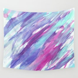 Modern teal pink artistic watercolor brushstrokes Wall Tapestry