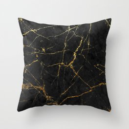 Gold Glitter and Black marble Throw Pillow