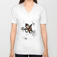 borderlands V-neck T-shirts featuring Borderlands 2 - Chibi Gunzy! by Emme Gray