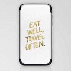 Eat Well Travel Often on Gold iPhone & iPod Skin