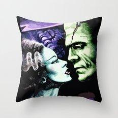 Bride of Frankenstein Monsters in Love Throw Pillow