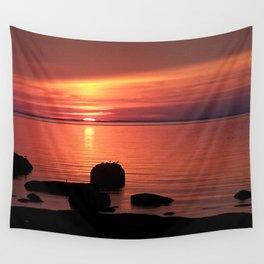 Red Sunset on the Rocks Wall Tapestry