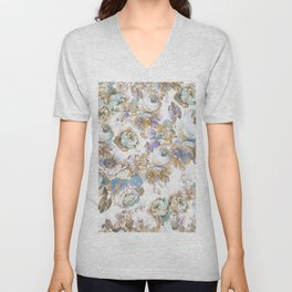 Vintage blush lavender brown teal blue roses floral Unisex V-Neck