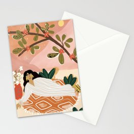Laying under the full moon Stationery Cards