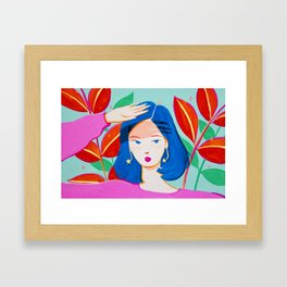 Girl and Plants on Bright Day Framed Art Print