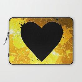 Yellow Watercolor splashed heart texture Laptop Sleeve