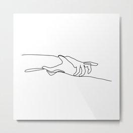 Line Holding Hands Metal Print