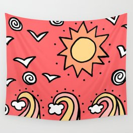 Doodle Art Drawing - Seagulls Rocks and Waves - Coral Pink Wall Tapestry