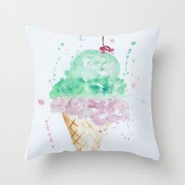 Icecream Summer love Cherry illustration ice cream cone watercolor Throw Pillow