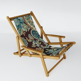 Brown Turquoise Paisley Sling Chair