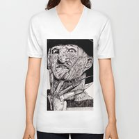 freddy krueger V-neck T-shirts featuring Freddy Krueger by Emz Illustration