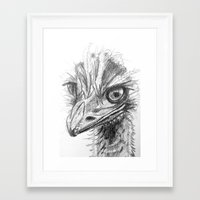 ostrich Framed Art Prints featuring Ostrich  by Juliette Caron