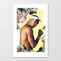 tupac Canvas Prints featuring Tupac Floral by POSH OUTSIDERS