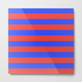 Even Horizontal Stripes, Blue and Red, L Metal Print