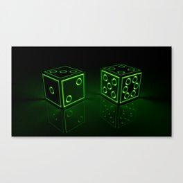 Glow Dice Lime Canvas Print