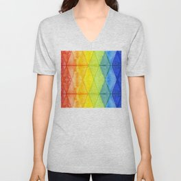 Geometric Abstract Rainbow Watercolor Pattern Unisex V-Neck