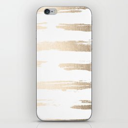 Simply Brushed Stripe White Gold Sands on White iPhone Skin